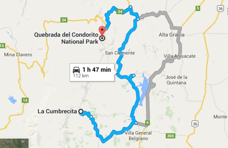 Routes from La Cumbrecita to Condorito Park