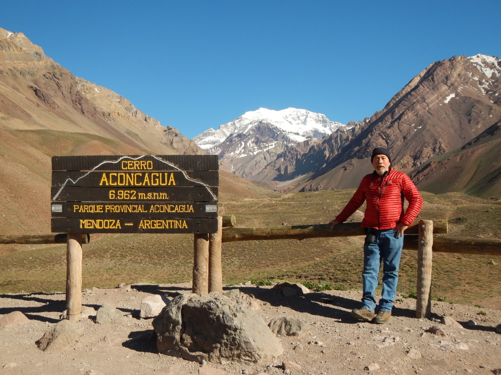 Standing at the lower viewpoint near the 10,000 ft level of Aconcagua.