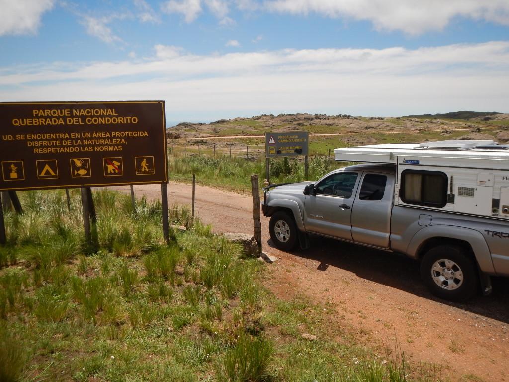 Entrance to Quebrada del Condorito NP