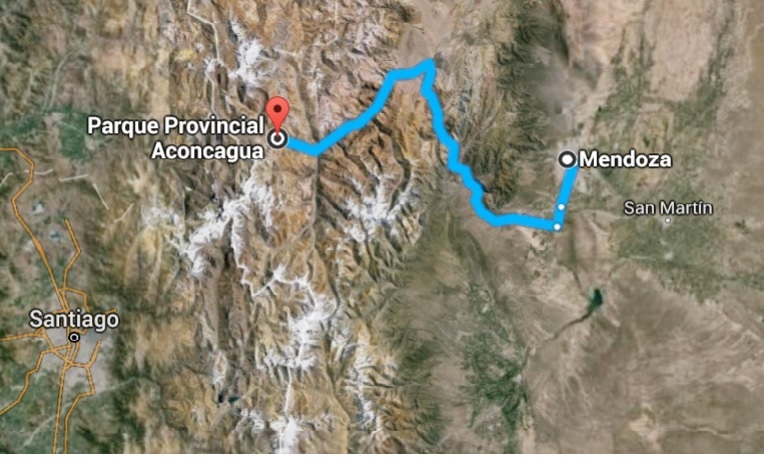 The route from Mendoza to Aconcagua.