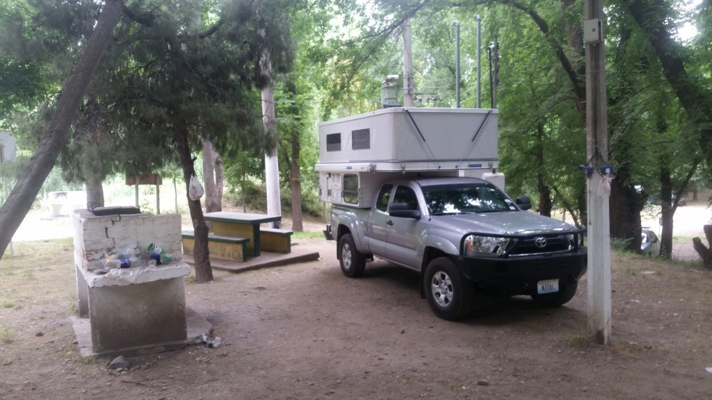 My campsite at the Tupungato Municipal Campground. Include 240 volts power at the site.