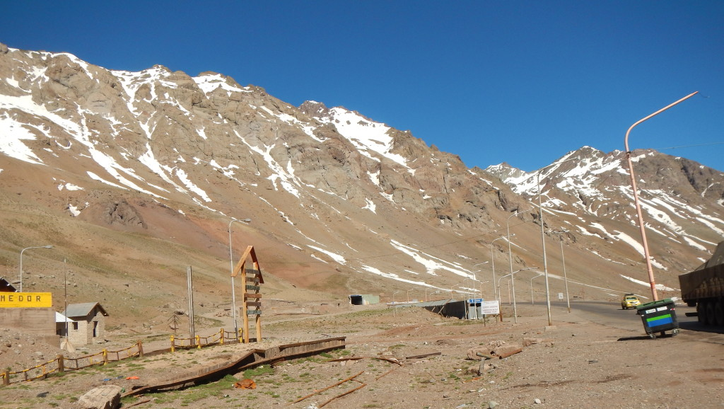A two mile long tunnel at the summit of Los Libertadores pass linkd Argentina to Chile.