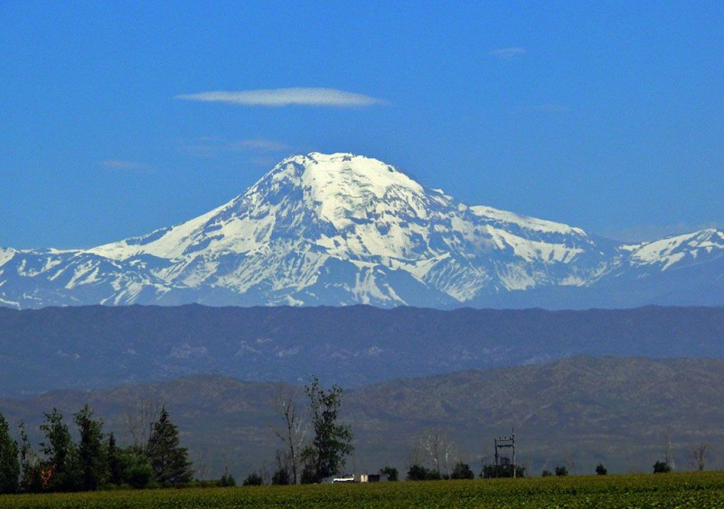 Mighty volcanoe Tupungato at 22,375 feet high, the 14 tallest mountain in South America.