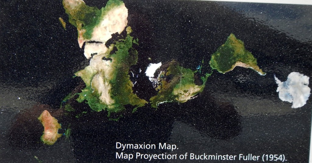 In the monument is displayed Bucky Fuller's Dymaxion map from 1954.