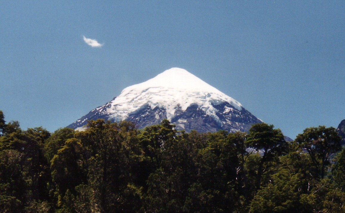 The Lanin Volcano near the border with Chile near Junin de los Andes.