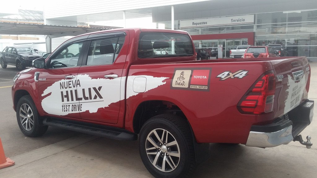 The new Toyota Hilux on display at the Yacopini dealership in Mendoza.