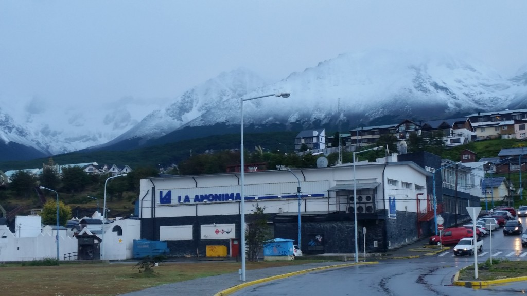 It is very cold and wet in Ushuaia today. The snow level almost reached sea level as seen on the nearby hills.