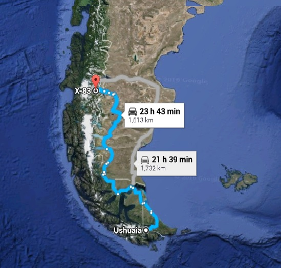 I will backtrack 1700 km to cross over the Andes to the Carretera Austral, Chile Route 7.