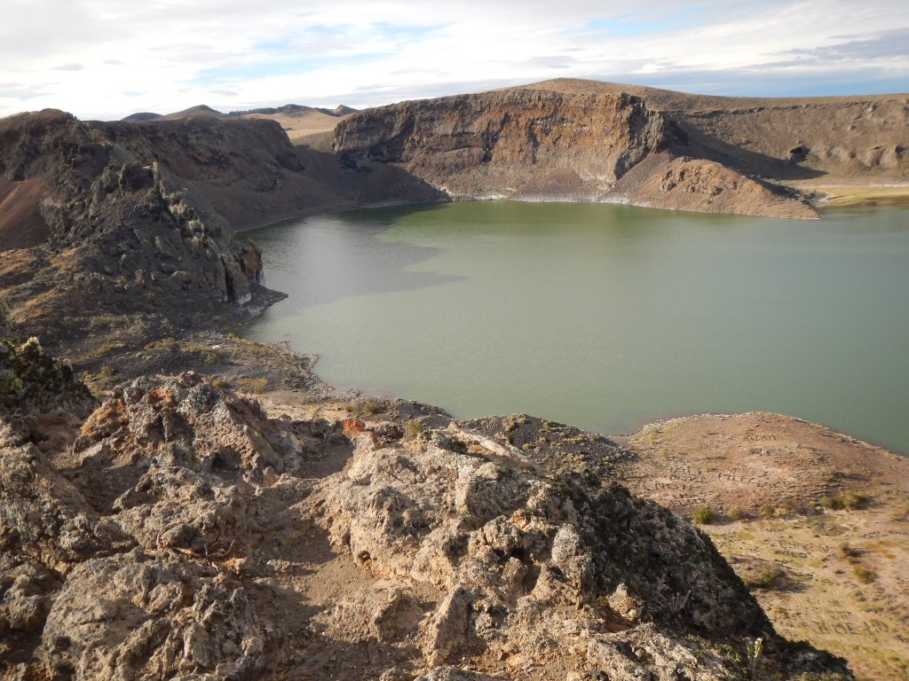 Laguna Azul, a geological reserve in Argentina. A lake in the crater of an extinct volcano.