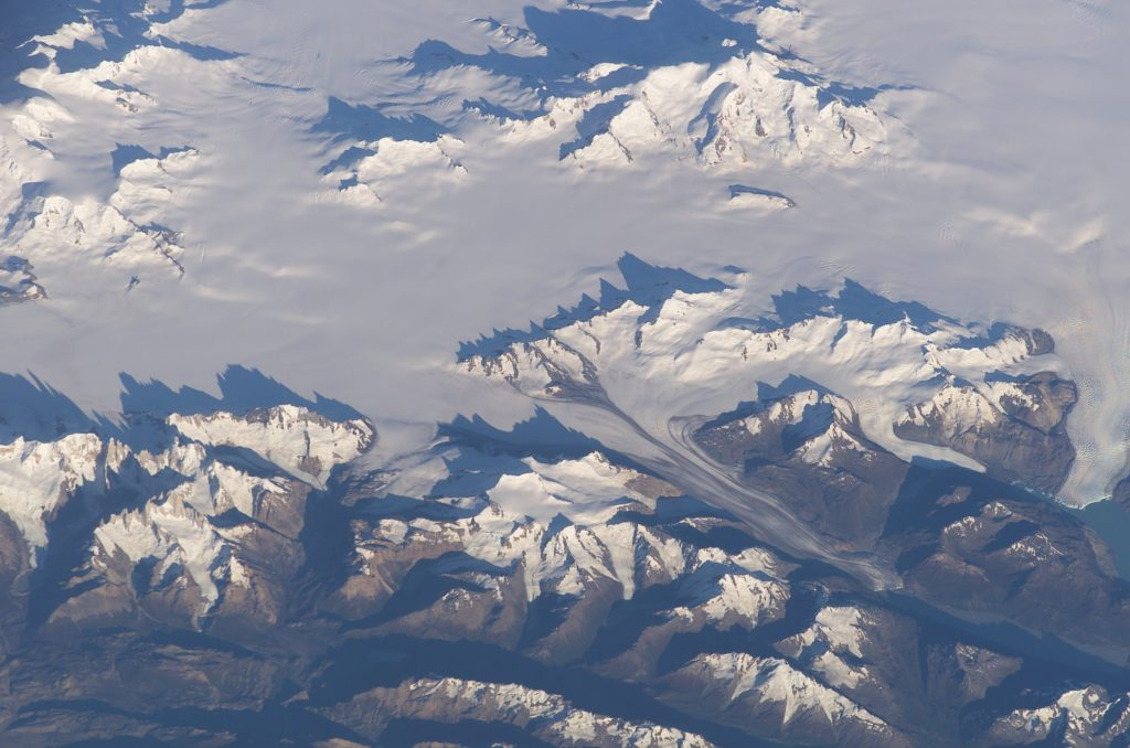 Aerial photo of part of the Southern Patagonian Ice Field.