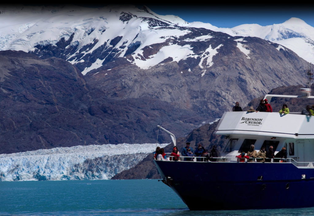 Popular trip with adventure tourists is visiting the tip of the O'Higgins Glacier.