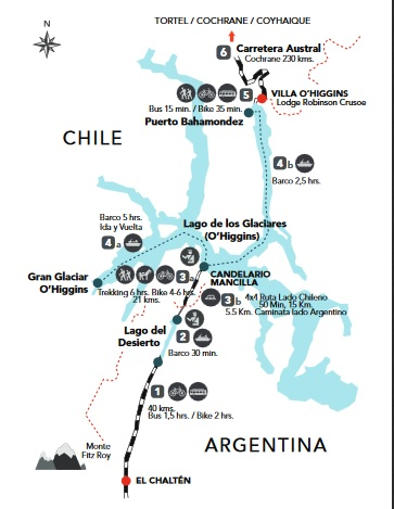 The southernmost crossing from mainland Chile to Argentina. A combination of two boats and a footpath that connects Lake O'Higgins in Chile and El Chalten in Argentina.